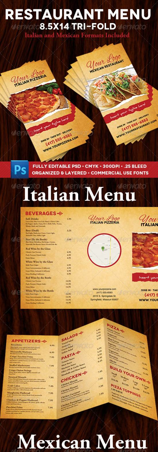 restaurant menu italian and maxican