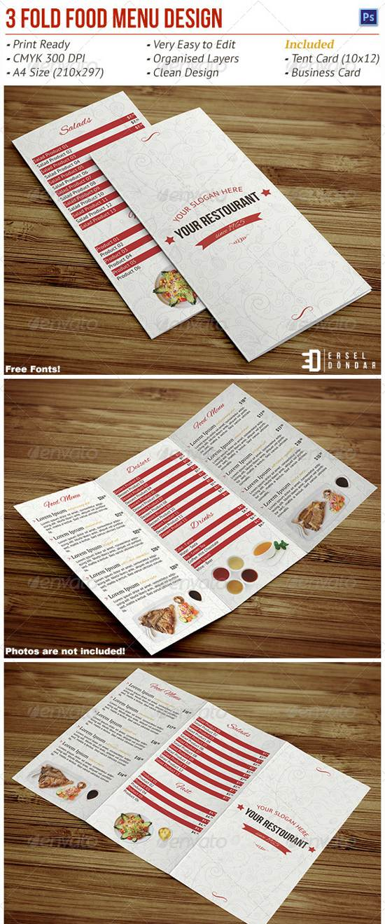 tri fold food menu template