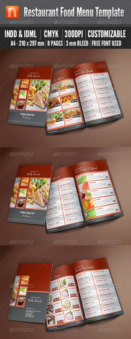 bi-fold food menu template