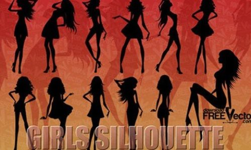 Vector Silhouettes Of Beautiful Girls