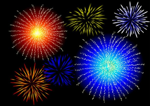 Colorful festive fireworks vector