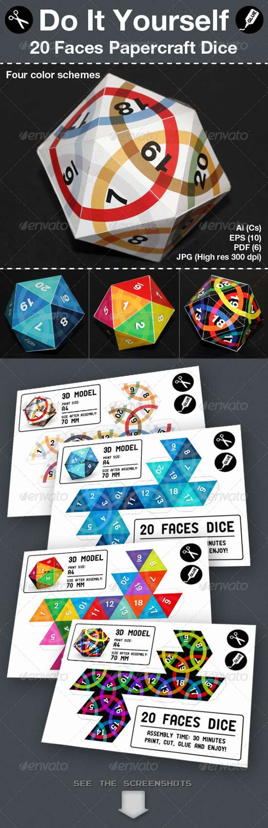 twenty faces packaging template
