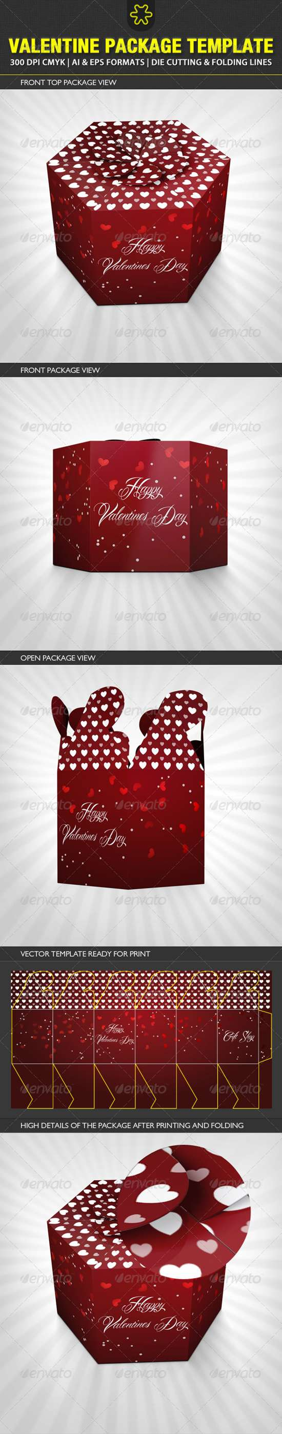 valentine gift packaging template