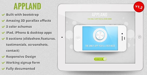 Appland - Responsive Bootstrap Parallax App Landing Page