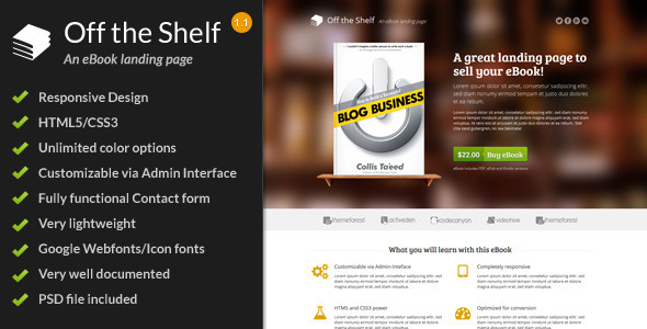 Off the Shelf - Responsive E-Book Landing Page