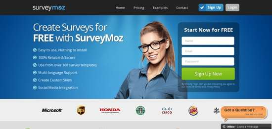 surveMoz website design