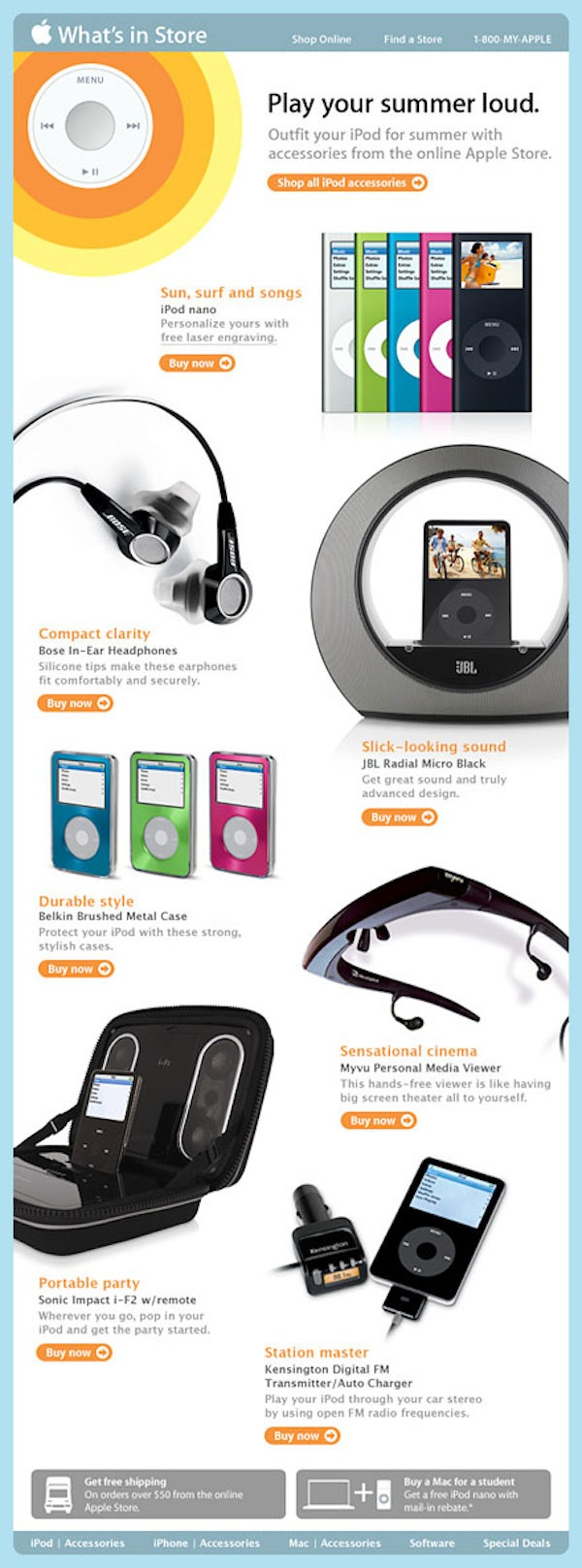 Apple iPod Summer Accessories Mail