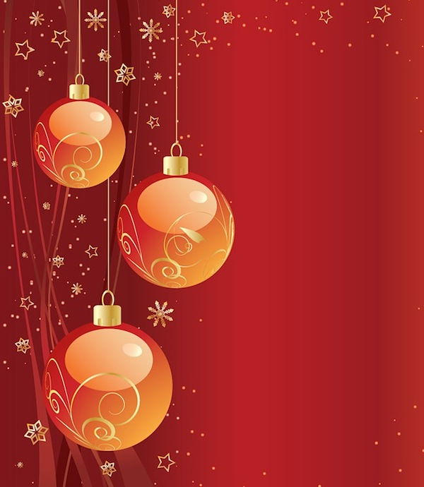 Free Christmas Red Background with Vector Ball Ornaments