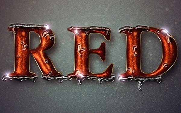 Glittering Red and Metling Ice Text Effect
