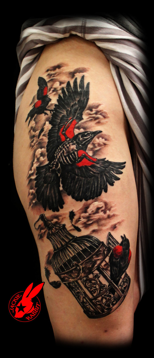 Black Bird Cage Tattoo
