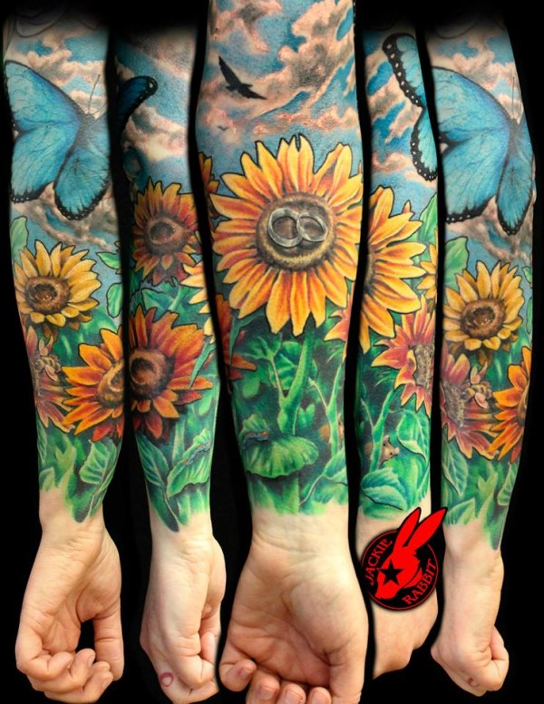 Sunflower Flower Garden Sleeve Tattoo