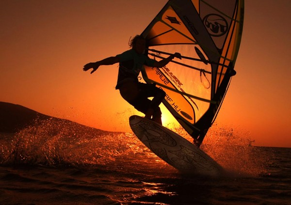 Sunrise windsurfing