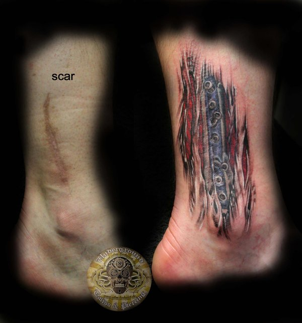 Cover scar muscle tattoo idea