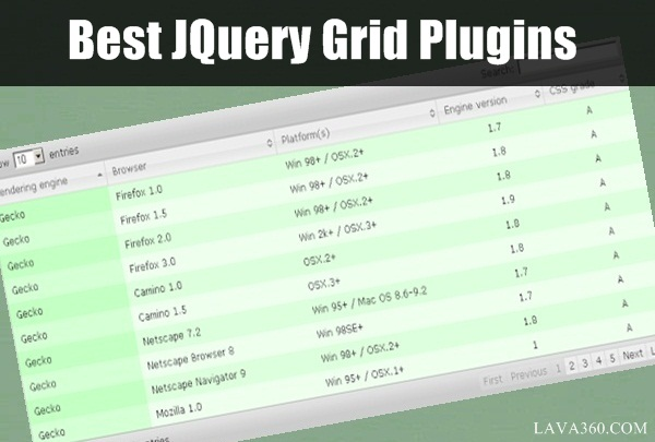 Best JQuery Grid Plugins1.1
