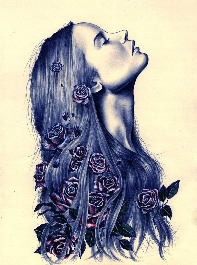 roses_in_her_hair_by_katepowellart