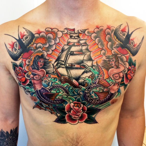 Catchy Chest Tattoo Designs for Men and Women (29)