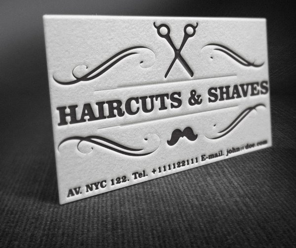 Letterpress Barber Shop Business Cards