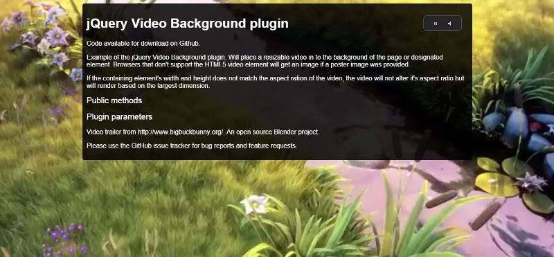 jQuery Video Background Plugin