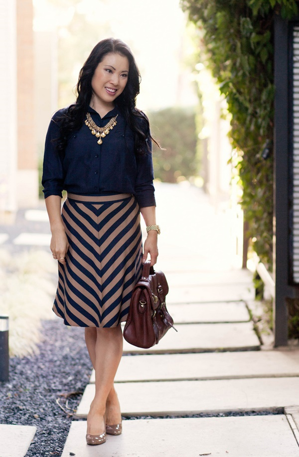 striped skirt outfits (17)