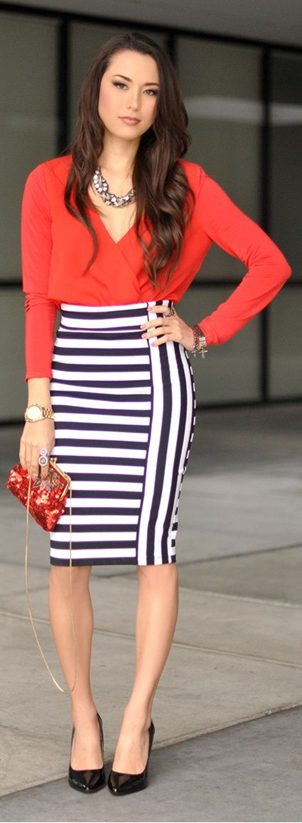 striped skirt outfits (37)