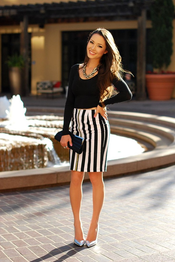 striped skirt outfits (6)