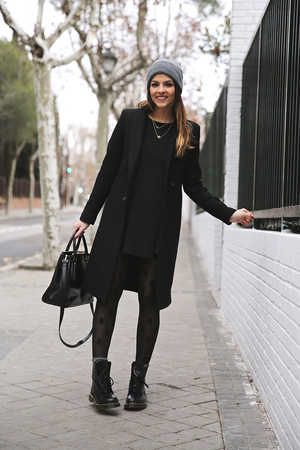 Black dress with long overcoat