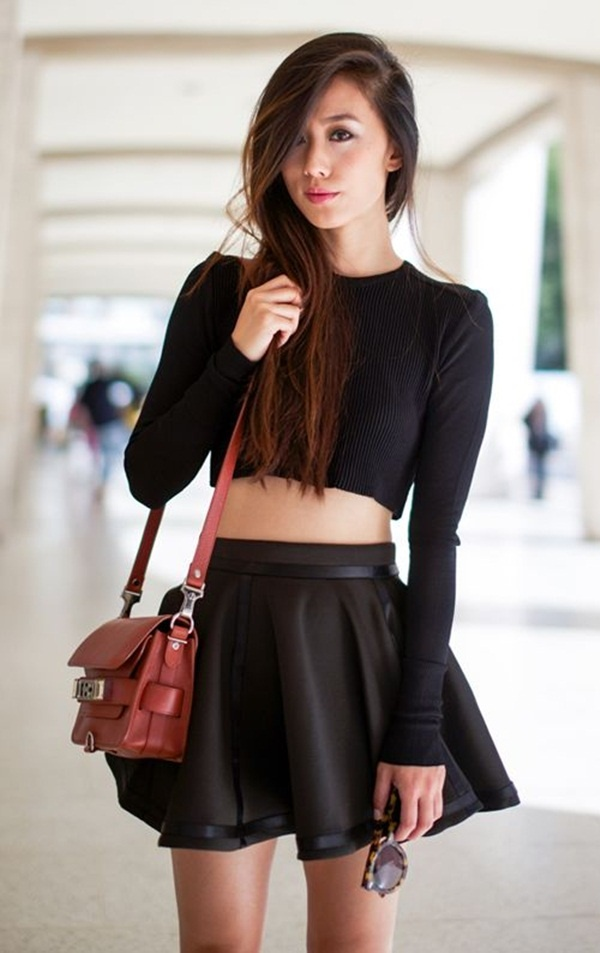 Flared black skirt with full sleeved top