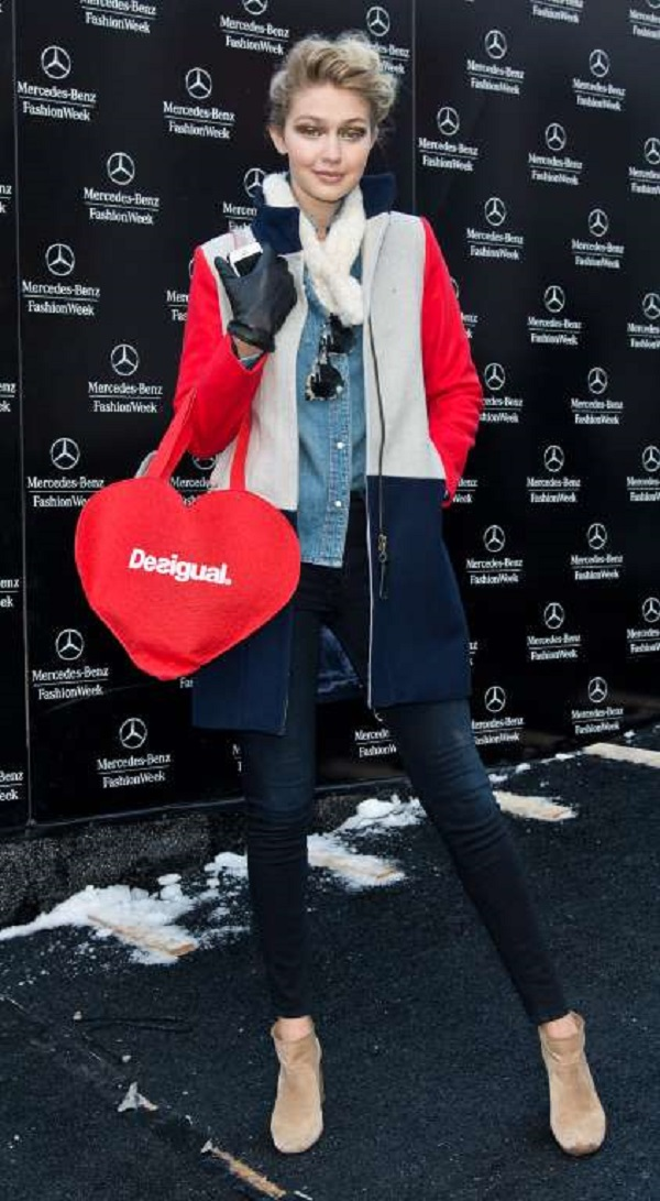 Strikes a pose at the Fall 2014 Mercedes - Benz Fashion Week on Feb. 6, 2014 in New York City.