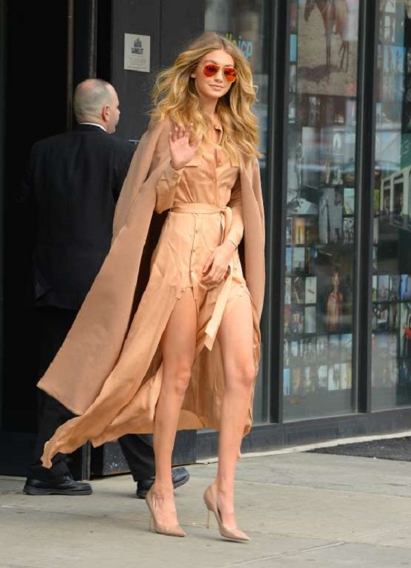 gigi hadid long-sleeve crepe military maxi dress, Ray-Ban aviator glasses and Kurt Geiger heels