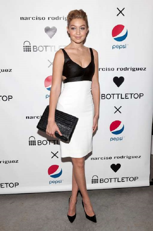A simple but elegant black and white dress was her pick for the Narciso Rodriguez Bottletop Collection x Pepsi U.S. Launch on May 8, 2014, in New York City.