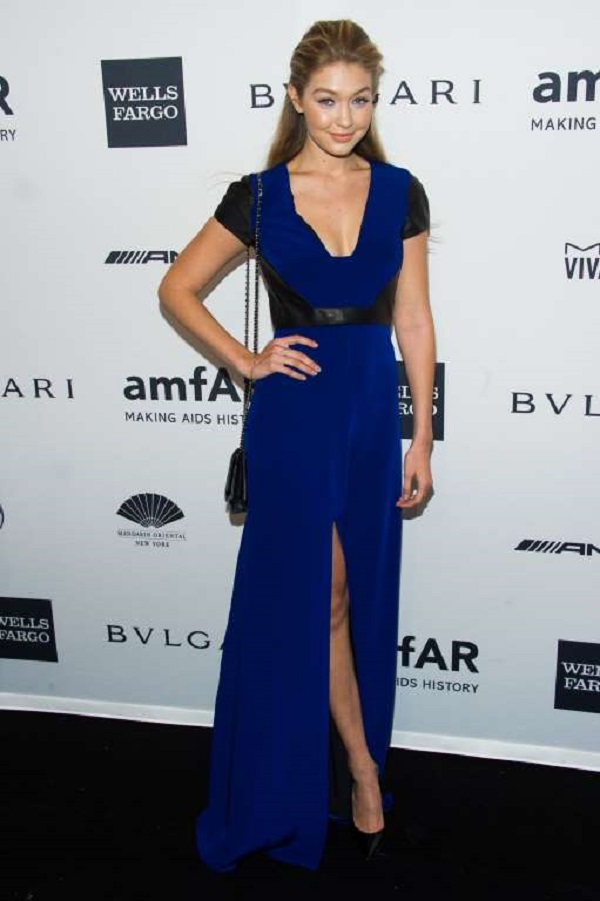 The model attended the amfAR Gala on Feb. 5, 2014, in New York City wearing a simple yet classy blue gown with a thigh high slit.