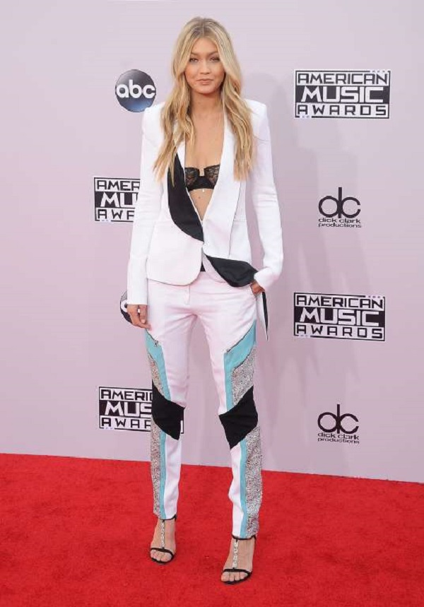Hadid arrived at the American Music Awards on Nov. 23, 2014 in Los Angeles, dressed in a Prabal Gurung Spring 2015 pantsuit and Dolce & Gabbana embellished heels.