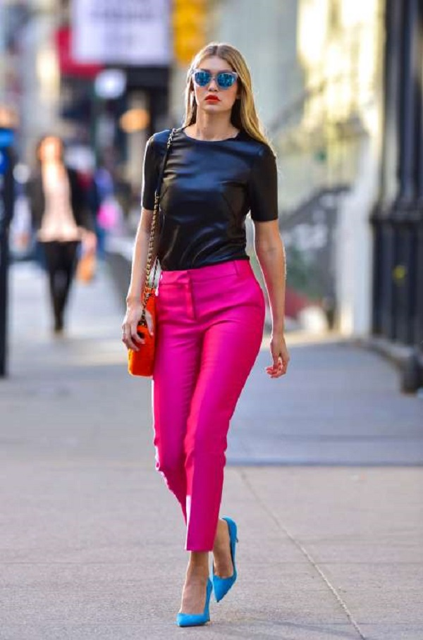 The model was seen filming a Maybelline commercial on May 2, 2015, in New York City in hot-pink pants, black leather top and tinted mirrored shades.