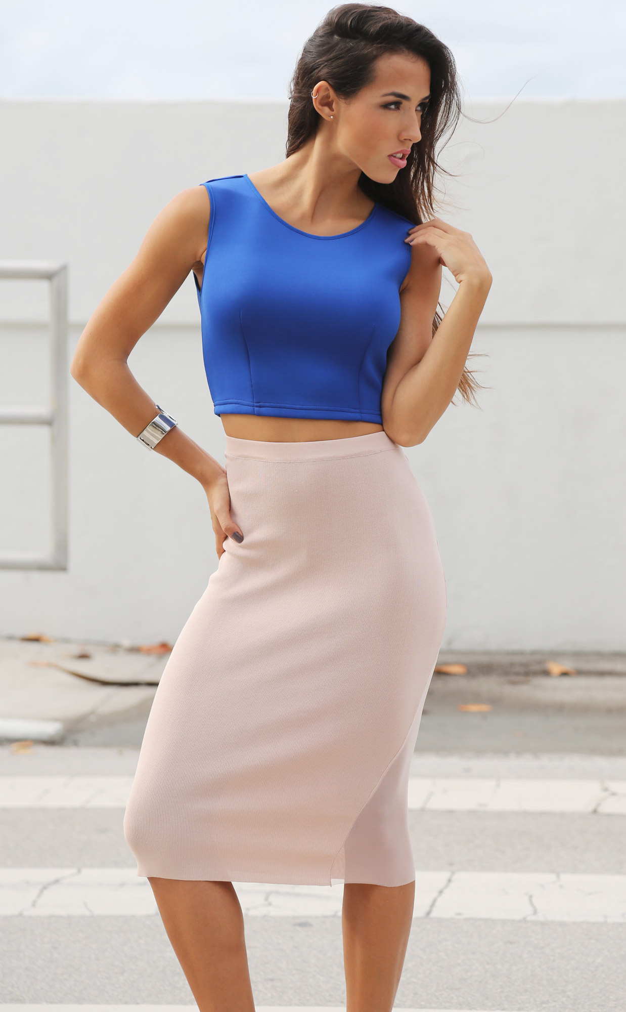 Stylish Pencil Skirt outfit examples Concrete-Runway-Nude-Sheer-Slit-Pencil-Skirt