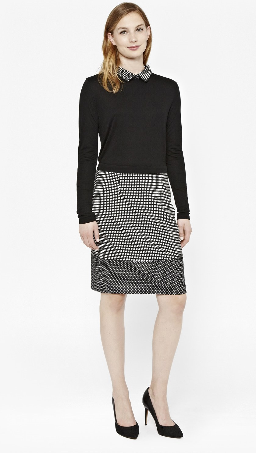 Stylish Pencil Skirt outfit examples contast Polka