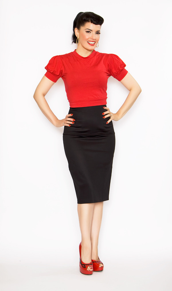 Stylish Pencil Skirt outfit examples vintage style High Waist black
