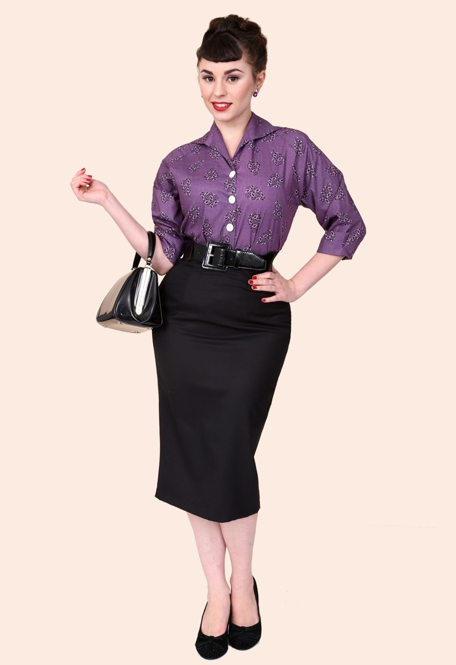 Stylish Pencil Skirt outfit examples vintage style black-cotton