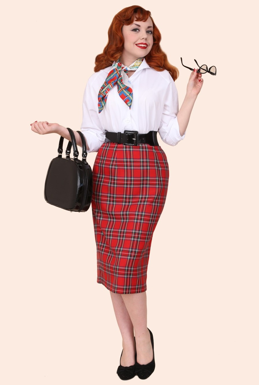 Stylish Pencil Skirt outfit examples vintage style red-tartan