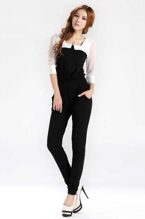 Classic Black and White Jumpsuit