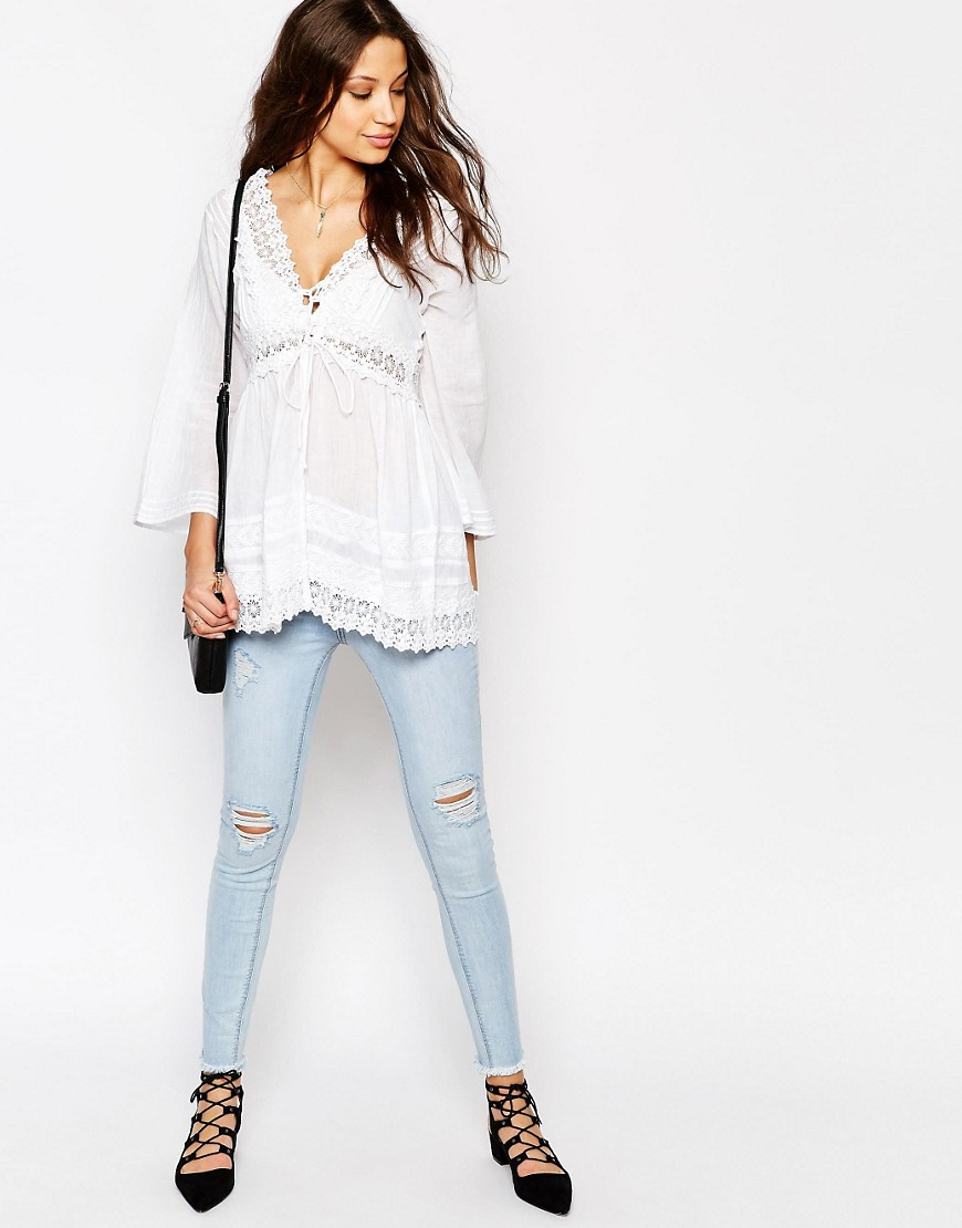 ASOS TALL Premium Lace Front Vintage Tunic Top with jeans