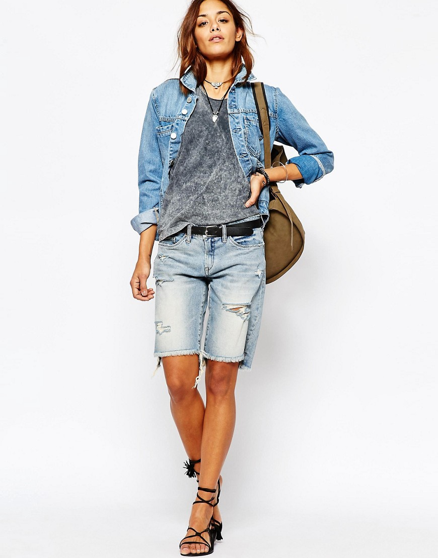 Blank NYC Boyfriend Fit Denim Shorts With Raw Hem And Distressing
