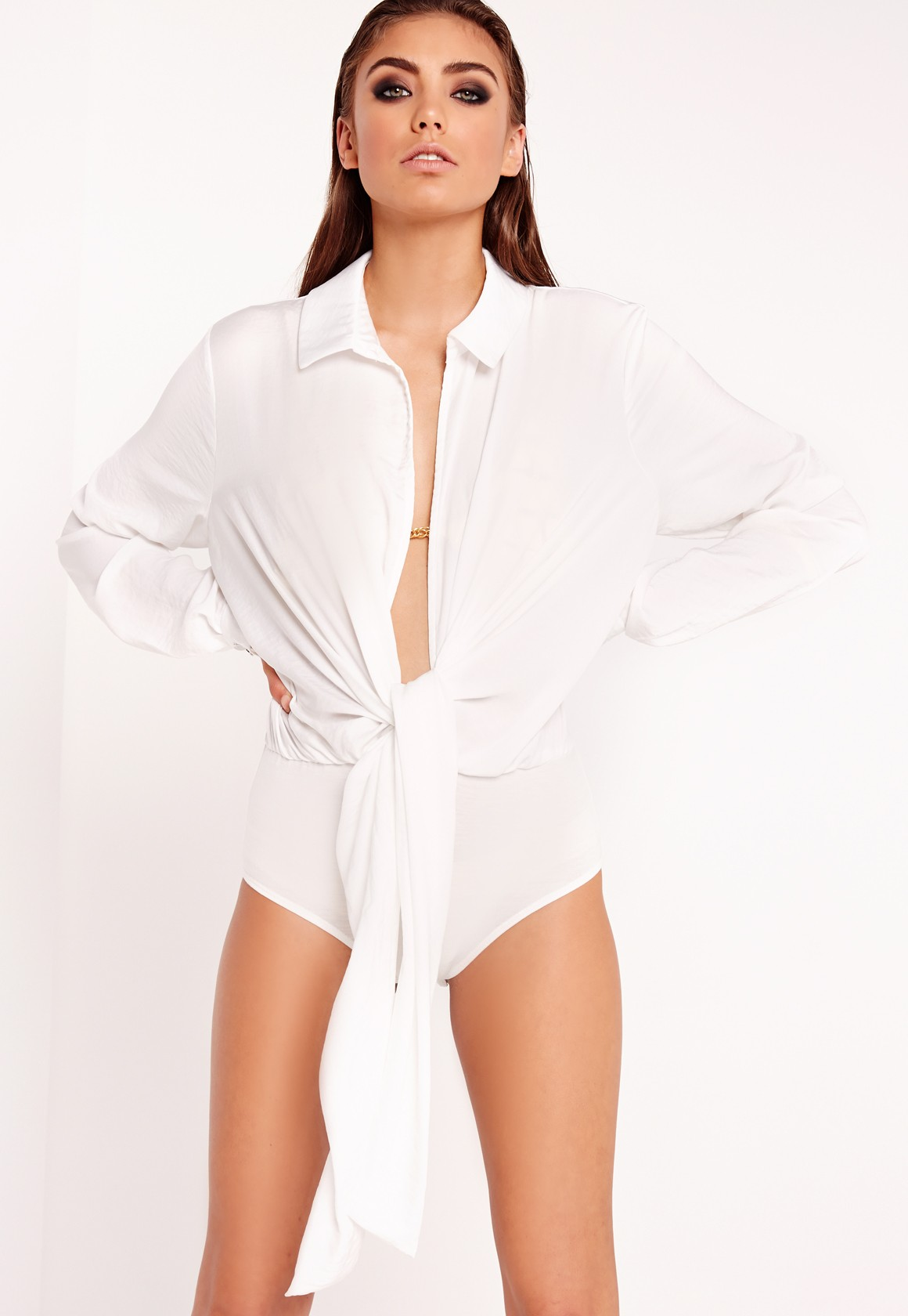 Peace and Love Tie Front white Shirt Bodysuit White top