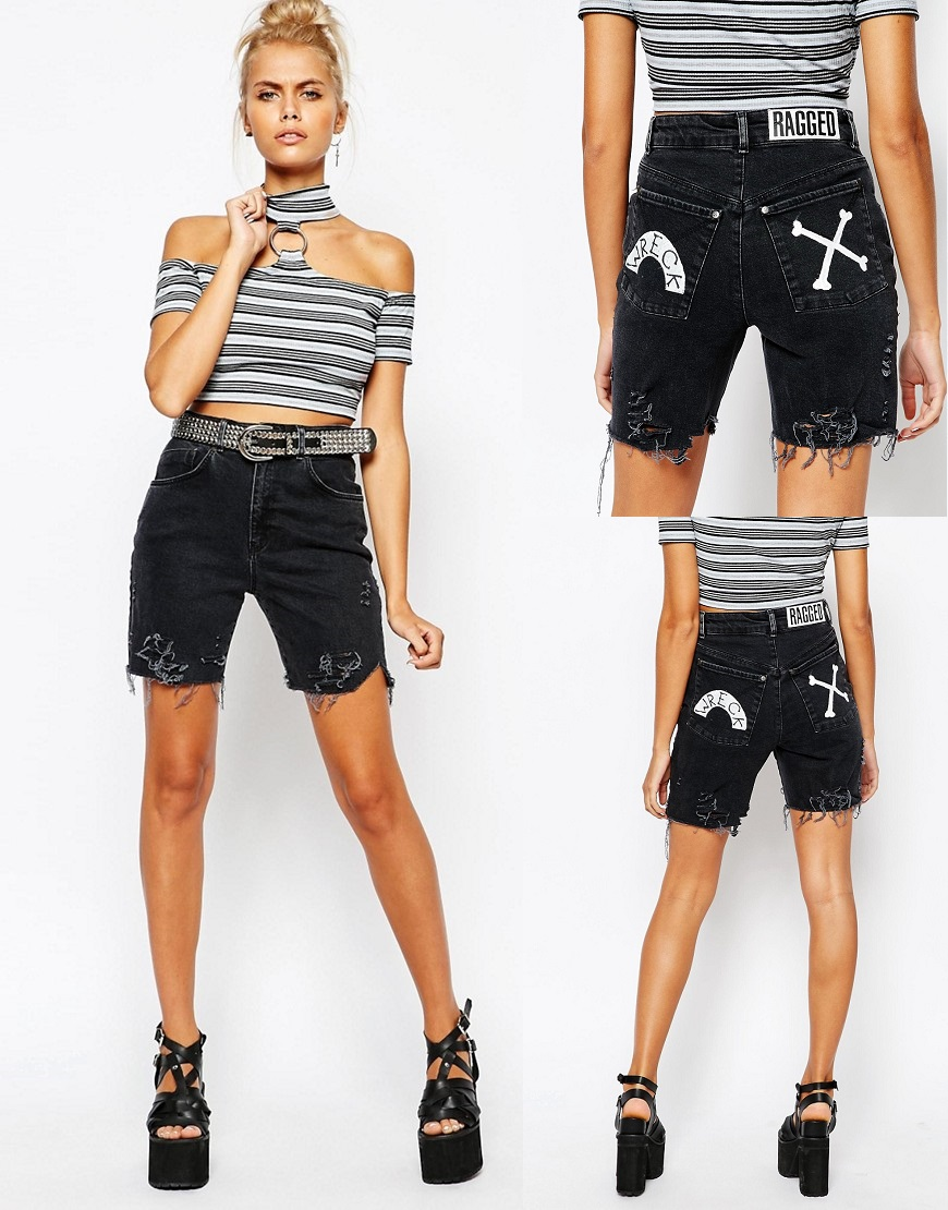 Ragged Priest Longline Denim Boyfriend Shorts With Hand Painted Back Pockets