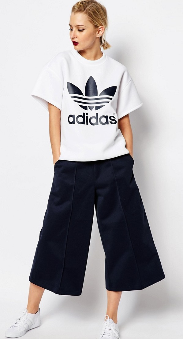 adidas Originals white top by HYKE Oversized Boxy Top With Trefoil Logo