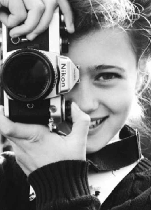 girl with camera photo black and white 18