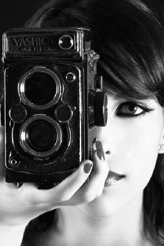 girl with camera photo black and white 25