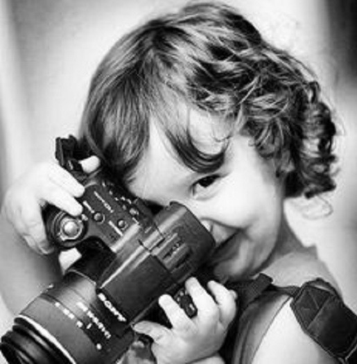girl with camera photo black and white 26