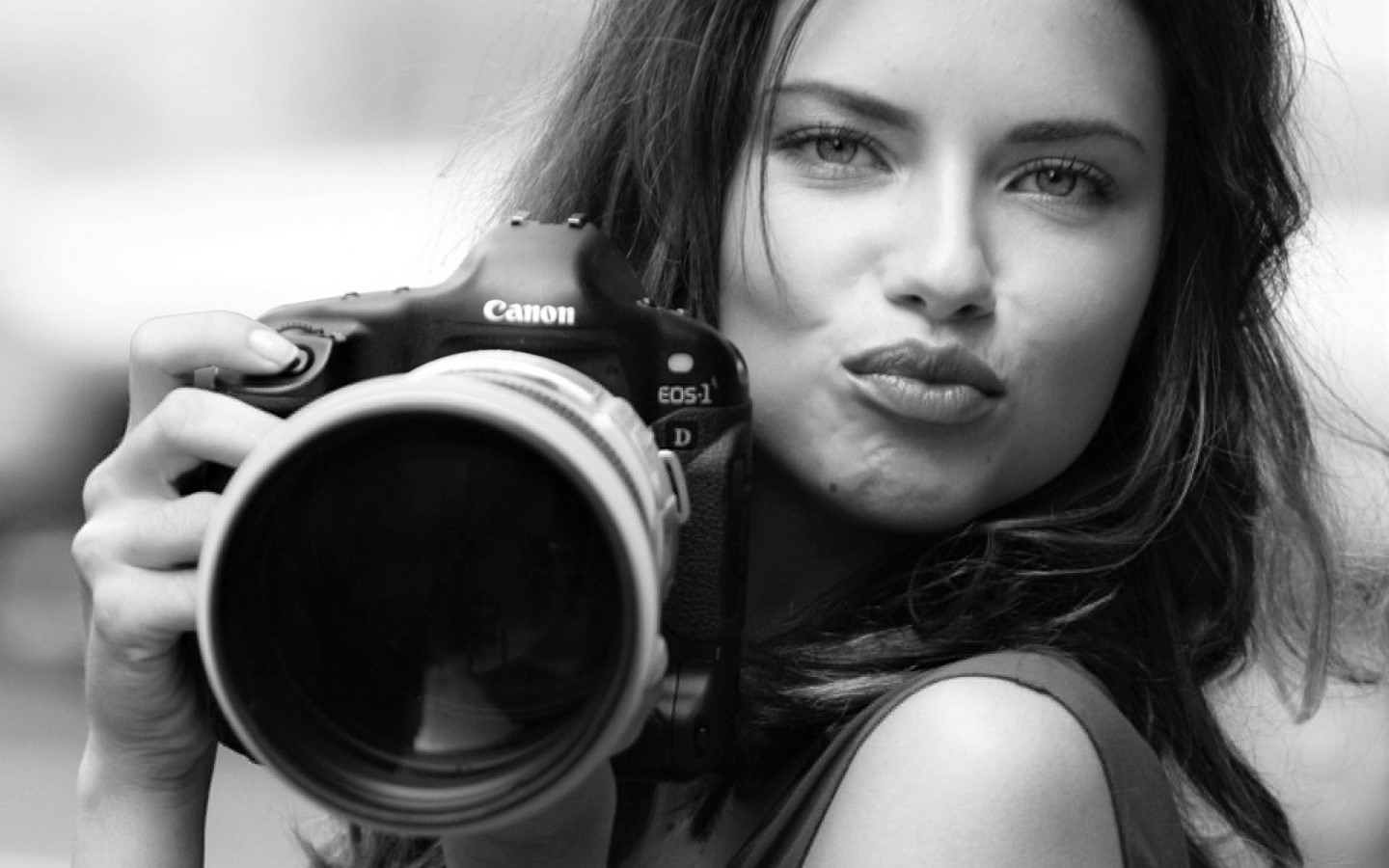 girl with camera photo black and white 28 Adriana-Lima