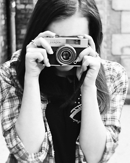 girl with camera photo black and white 32