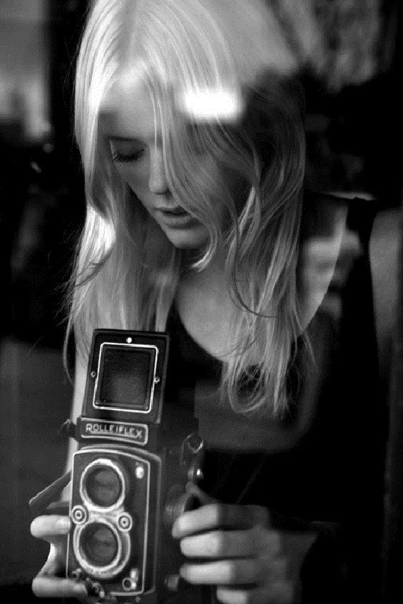 girl with camera photo black and white photography 34